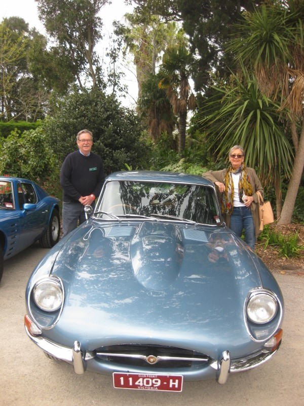 Neil and Tricia Marshall with their lovely E-Type